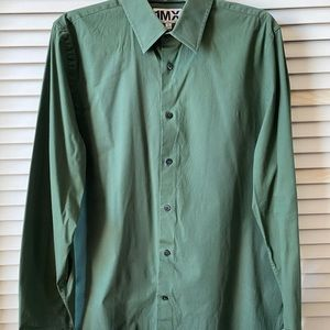 Express 1MX Slim/Fitted Solid Dress Shirt Green